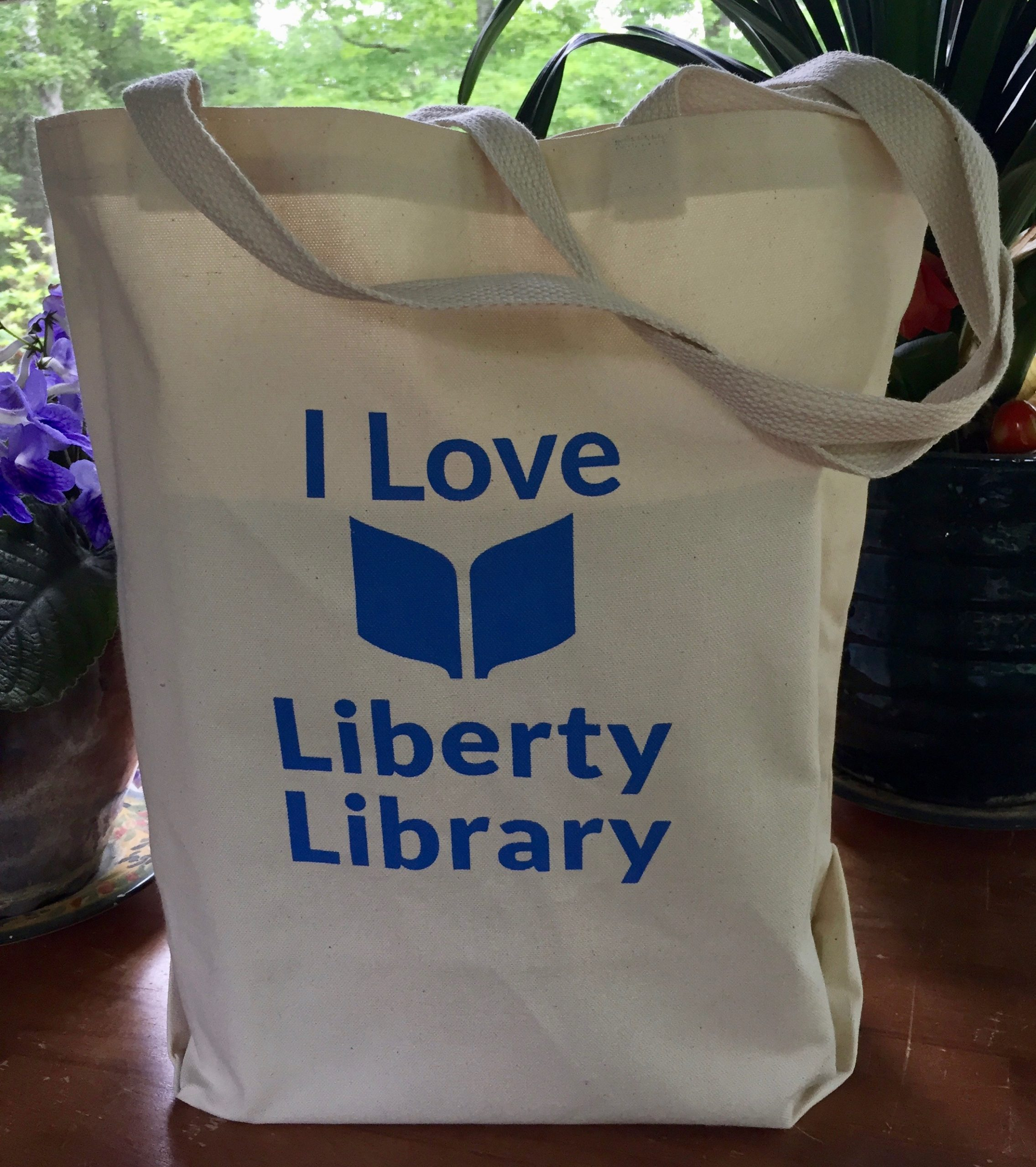 """I Love Liberty Library"" tote bag"